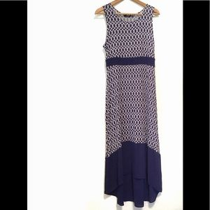 APT 9 sleeveless white and blue dress hi-low PL